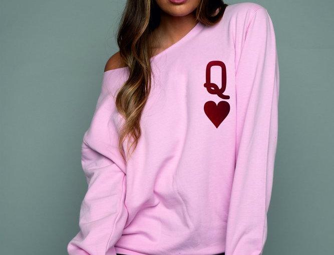 James Steward Pink Queen of Hearts Oversized Sweatshirt