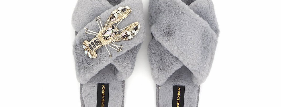 Grey Fluffy Slippers With Lobster Brooch