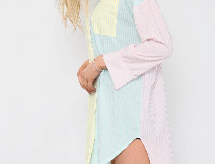 Cali  Pastel Pin Stripe Shirt Dress in Pink