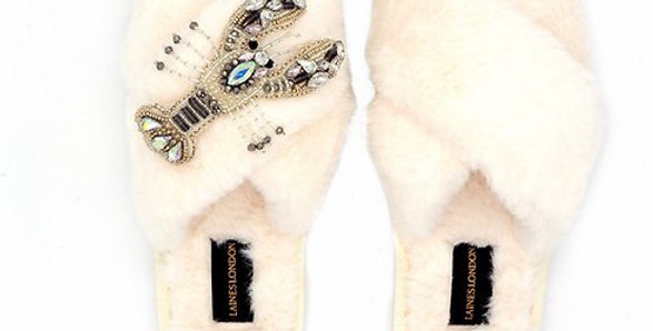 Cream Fluffy Slippers with Lobster Brooch