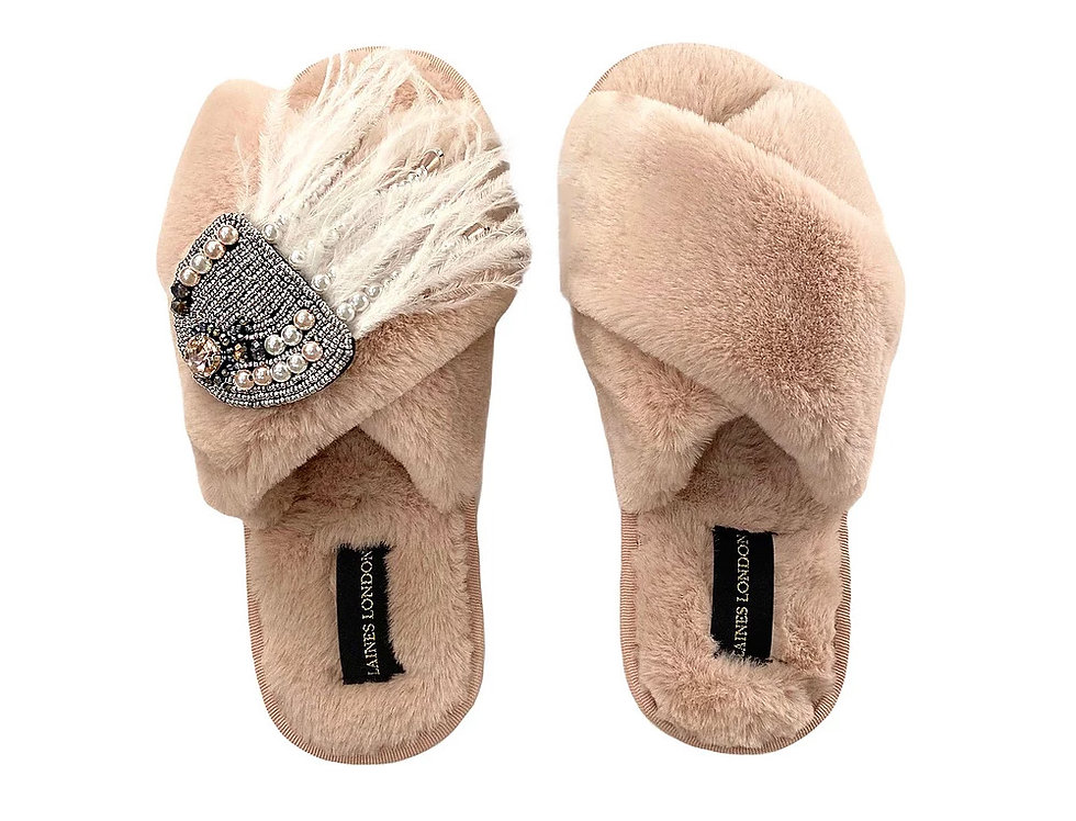 Laines London Pink Fluffy Slippers with Jellyfish Brooch