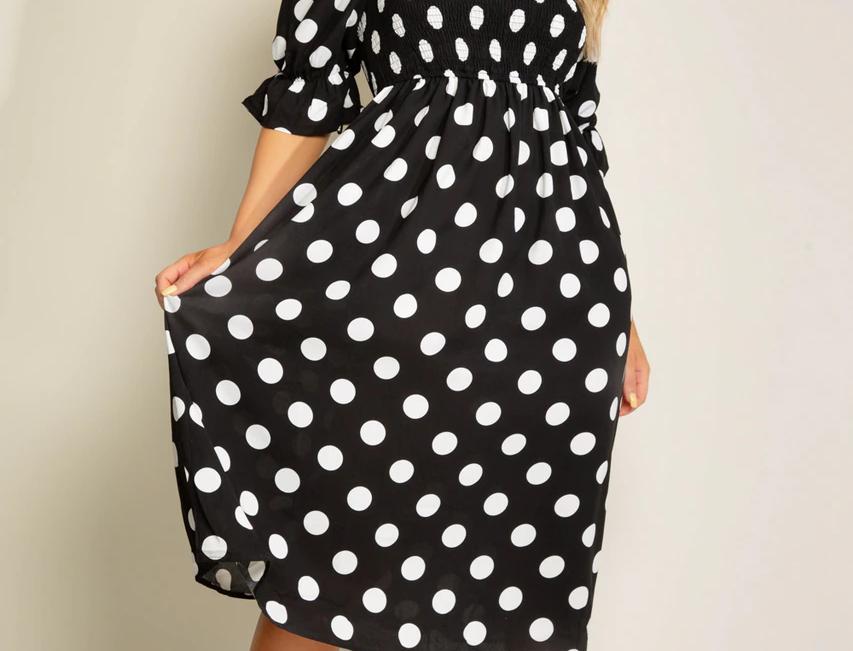 Sophia Polka Dot Midi Dress in Black