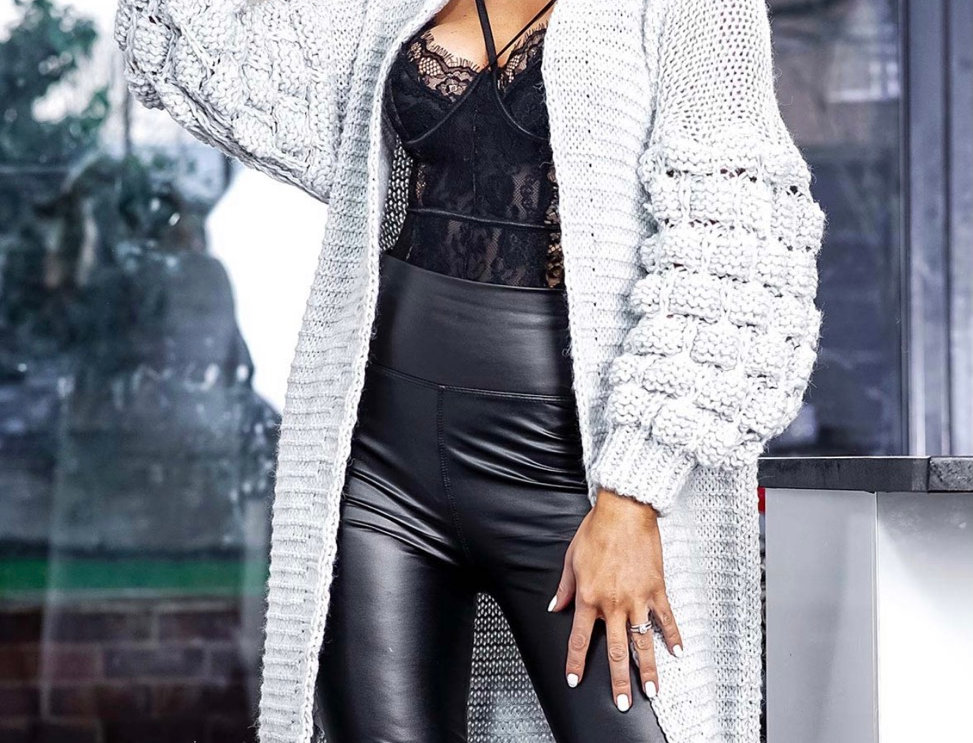 Kasha Open Front Knitted Cardigan