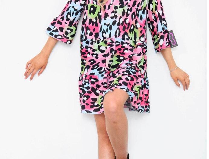 Shelly Multicolured Pink Animal Print Dress
