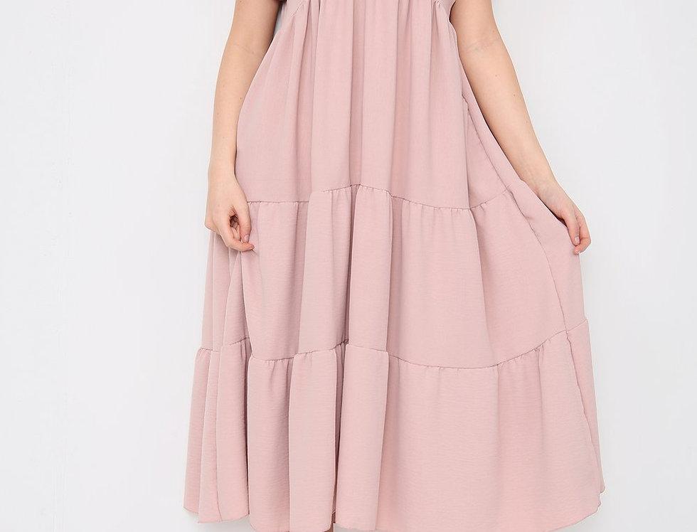 Asha V Neck Midi Dress in Pink