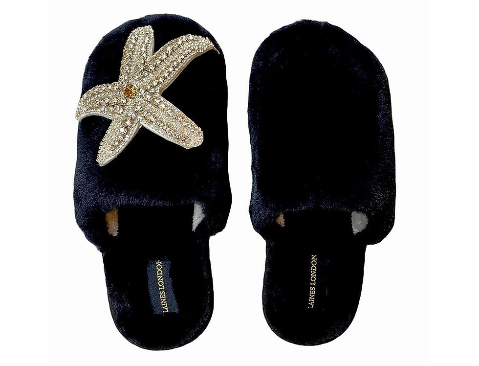 Laines London Black Closed Toe Slippers With Silver Starfish