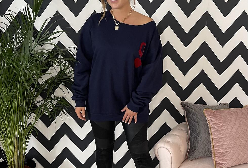 Queen of Hearts Oversized Sweatshirt in Navy