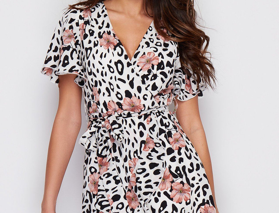 Laura Tie Waist Mini Dress in White Leopard And Floral Print