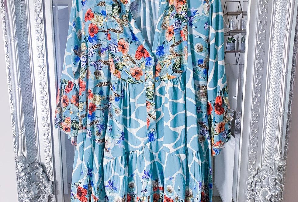 Helena Floral Smock Dress in Blue