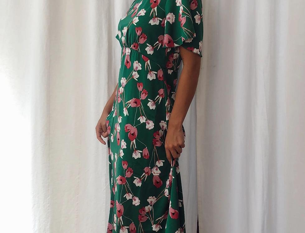 Zoe Angel Sleeve Split Leg Midi Dress
