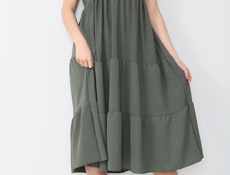 Asha V Neck Midi Dress in Khaki