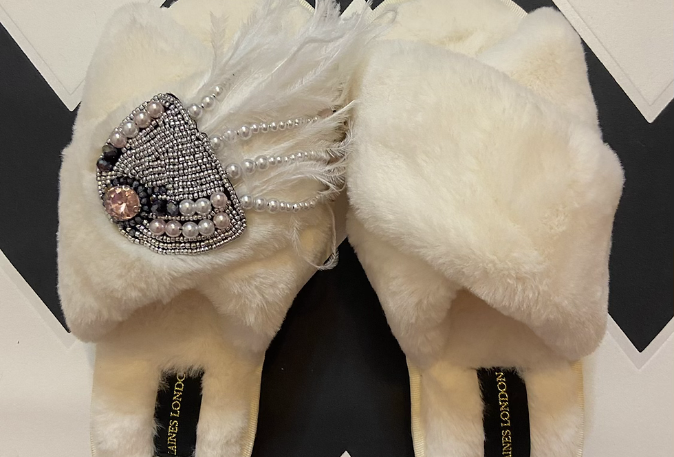 Laines's London Cream Fluffy Slippers with Jellyfish Brooch