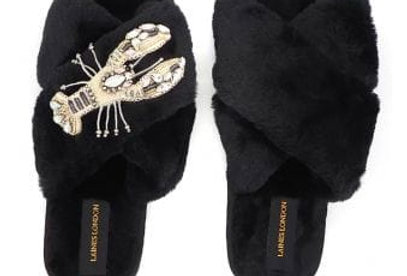 Black Fluffy Slippers with Lobster Brooch