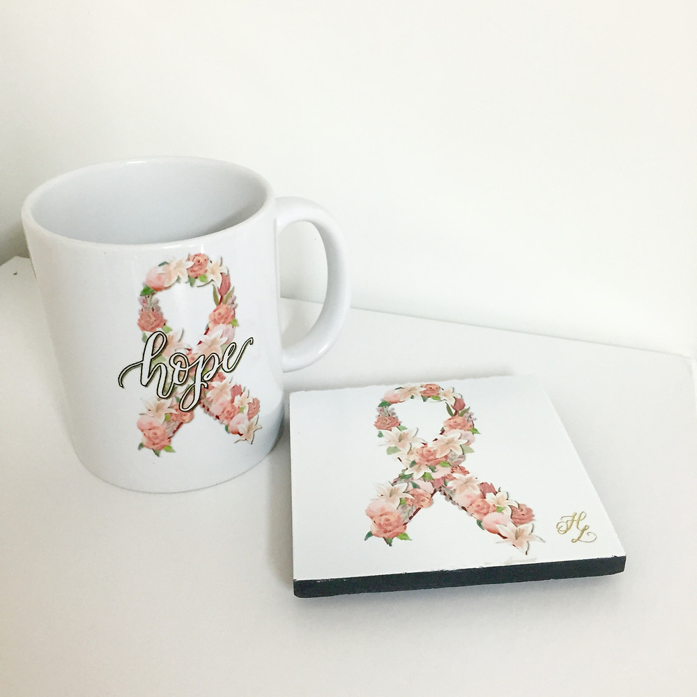 Hope Ribbon Mug & Coaster