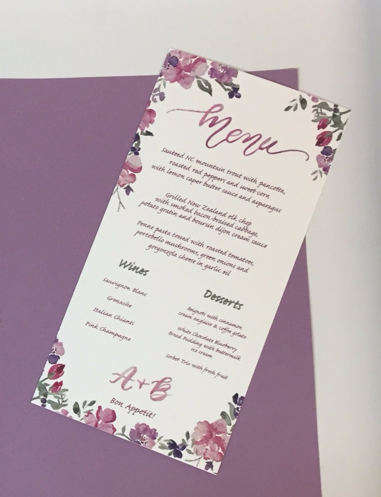 Floral Watercolor Menu