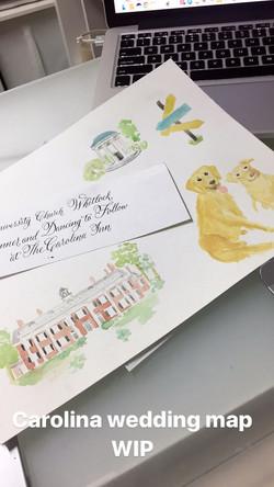Watercolor Wedding Map