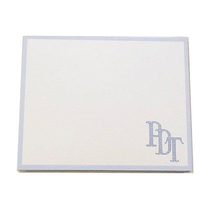 Blue Border Monogrammed Notecards