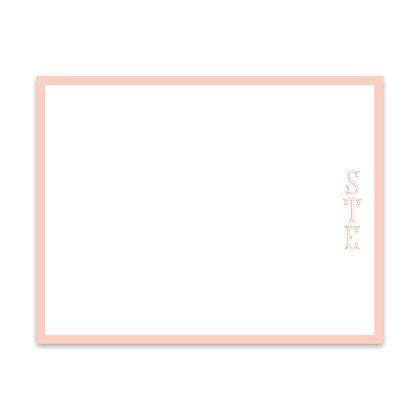 Coral Monogram Notecard