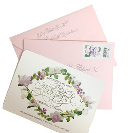 Floral Calligraphy Save the Date