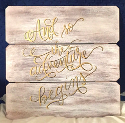 Whitewashed Wooden Calligraphy Sign
