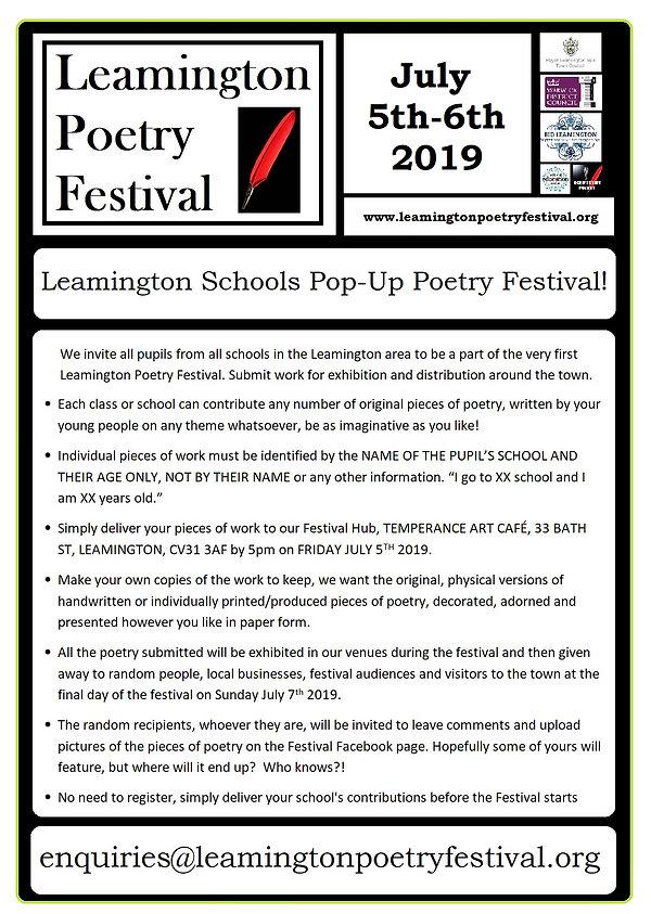 Leamington Schools Pop Up Poetry Festiva