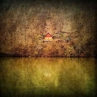série photographie artistique paysages urbains, cabane dans les bois en automne