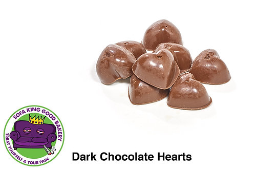 dark chocolate, chocolate, sea salt, pink, natural, hearts, edible, medible