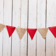Red & Burlap Cloth Banner