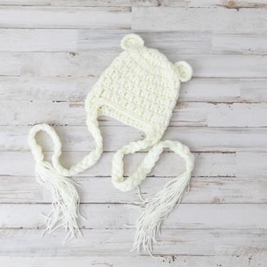 White Knit Baby Hat