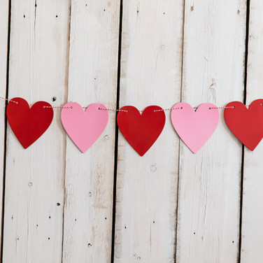 Pink & Red Hearts Banner