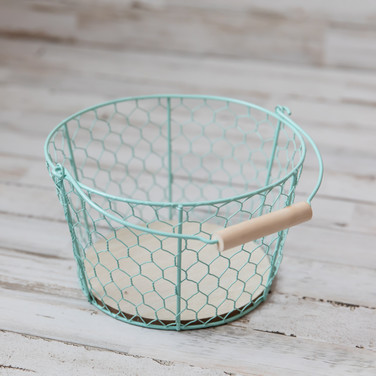 Small Teal Chicken Wire Basket