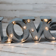 Metal Love Sign with Lights