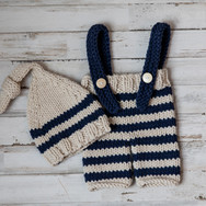 Tan & Blue Stripe Overalls with Hat