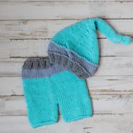 Aqua Knit Pants with Hat