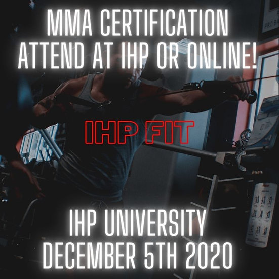 IHP MMA Certification (English - Live at IHP & Online via Zoom)