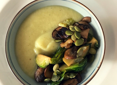 Parsnip soup with crispy mushrooms and veggies