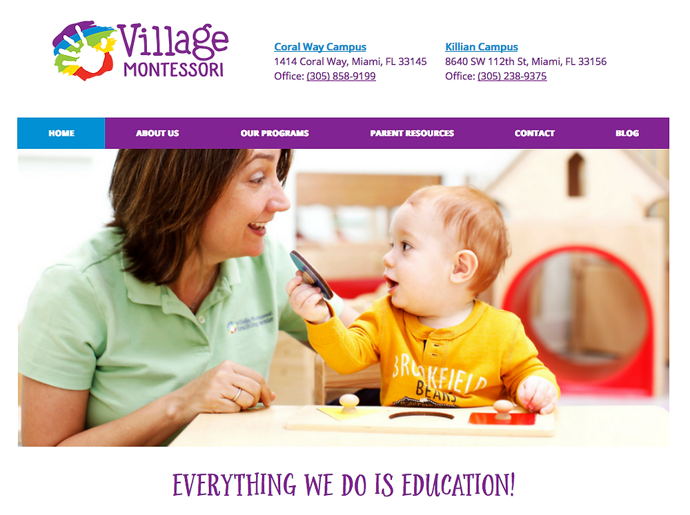 Recently redesigned website for friendly interaction and clear information for Village Montessori Schools.