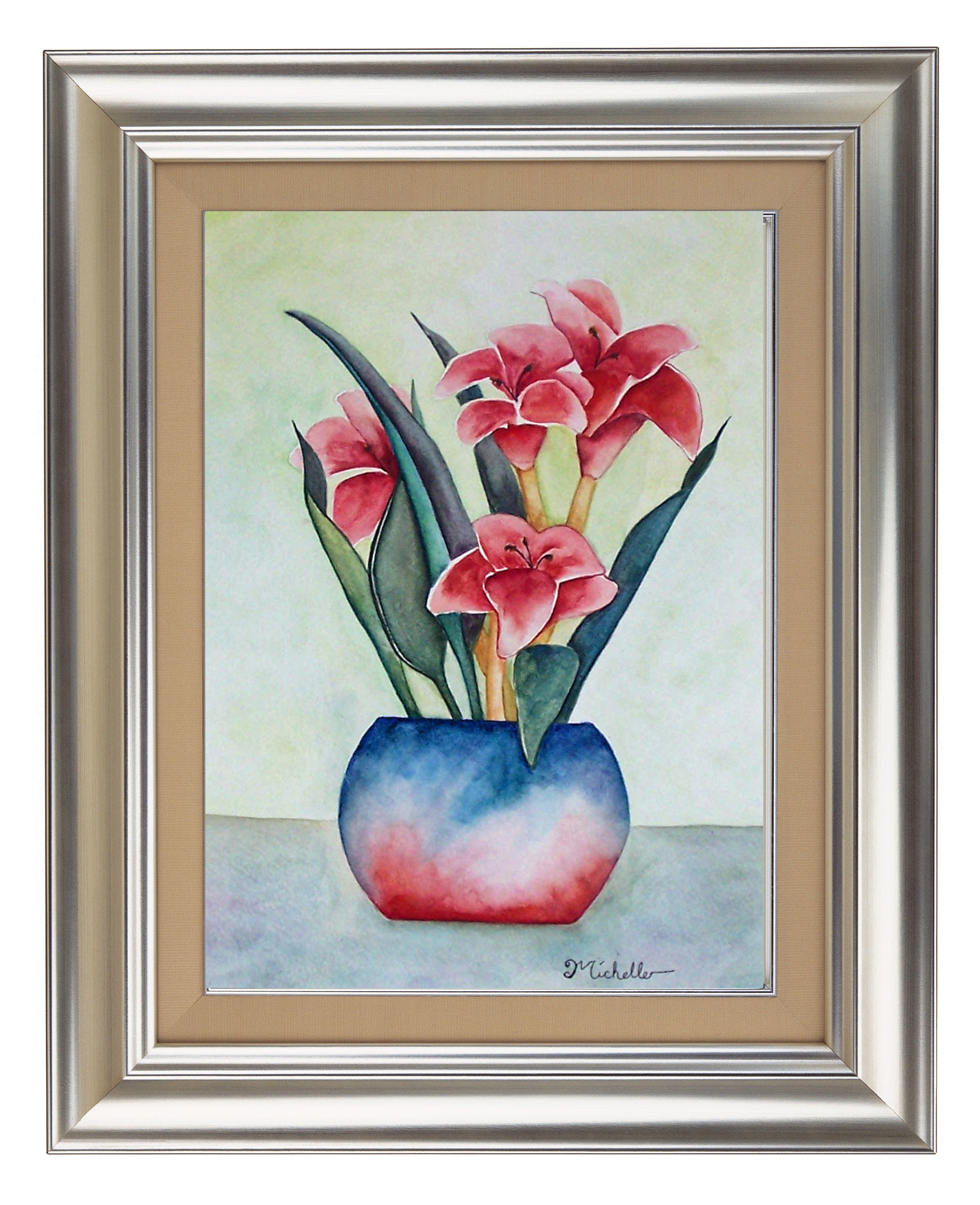 Pink Lillies In a Vase
