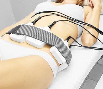 Laser lipo equipment. Cosmetic fat reduce treatment. Woman in medicine salon. Anti cellulite procedu