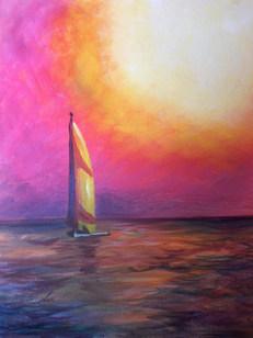 Pink Sky Sailboat