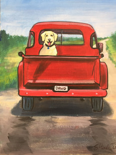 Dog Red Truck