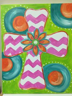 Pink Chevron Cross