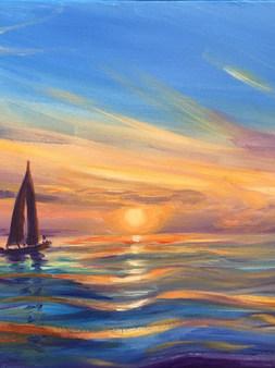 Blue Sunset Sailboat