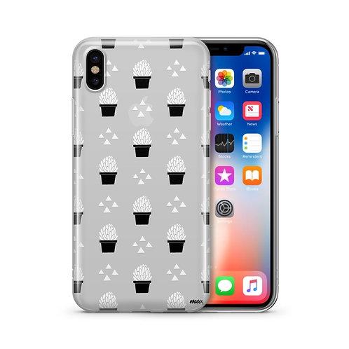 Monochrome Succulent - Clear TPU iPhone Case