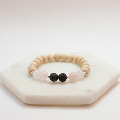 Open Heart Rose Quartz Lava Diffuser Bracelet