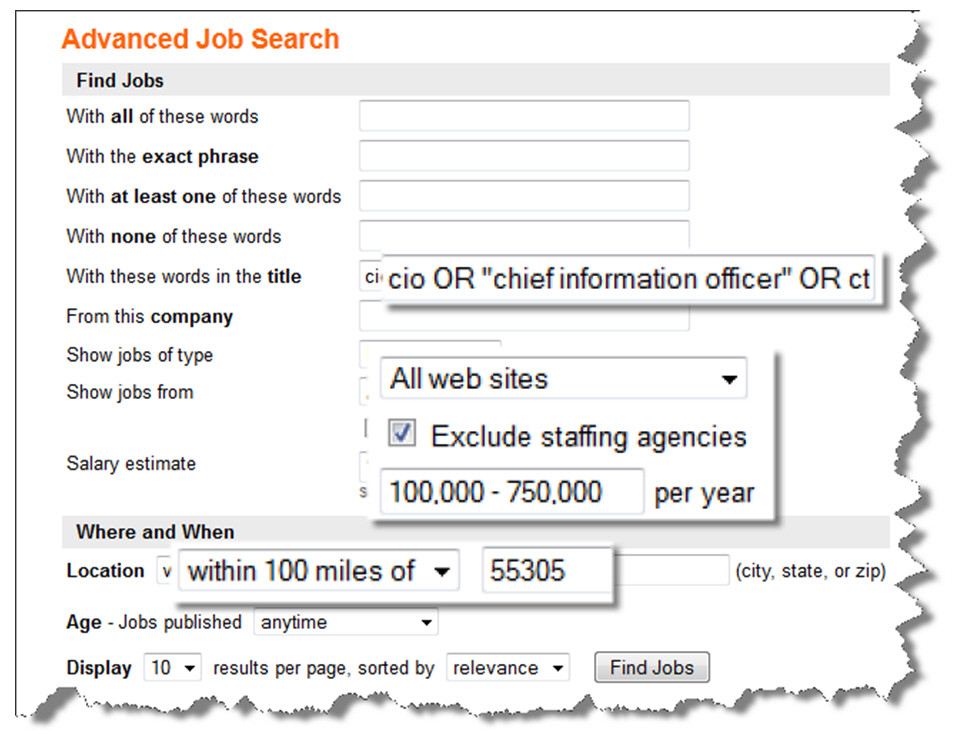 Indeed.com Advanced Search