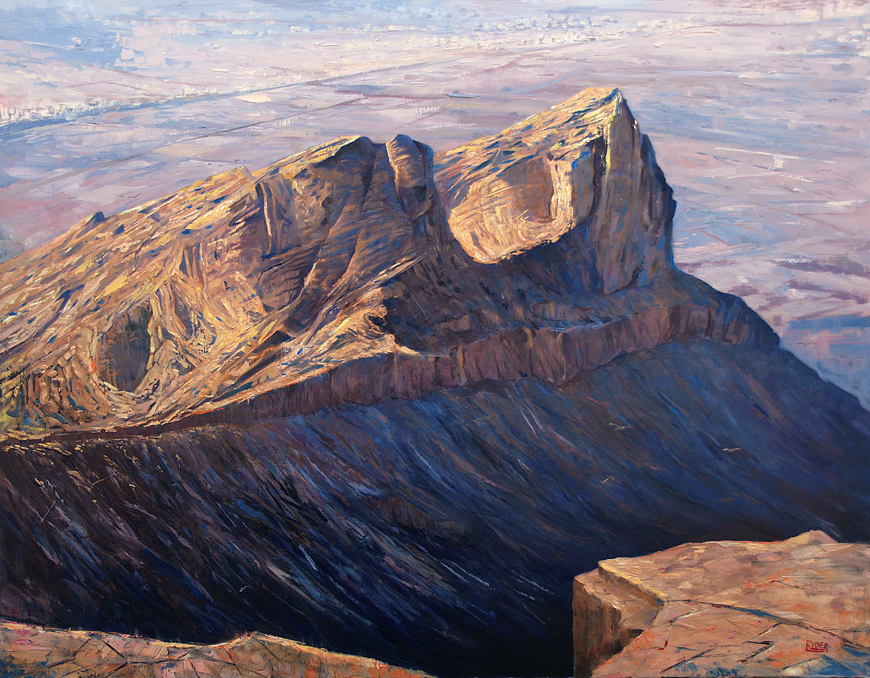 Setting sun at Jebel Hafeet - Oil