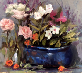 Blue pot and flowers