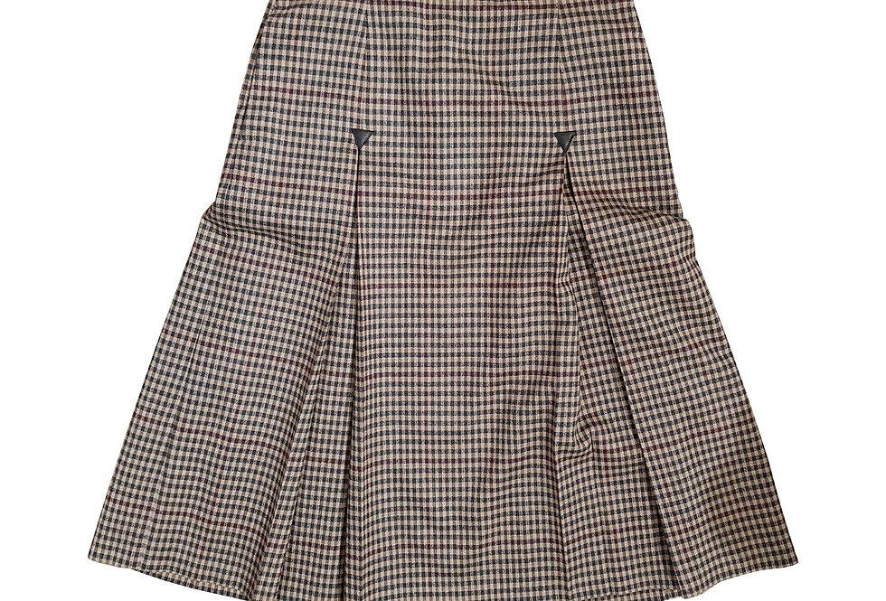 Vilnos ir kašmyro languotas sijonas su klostėmis