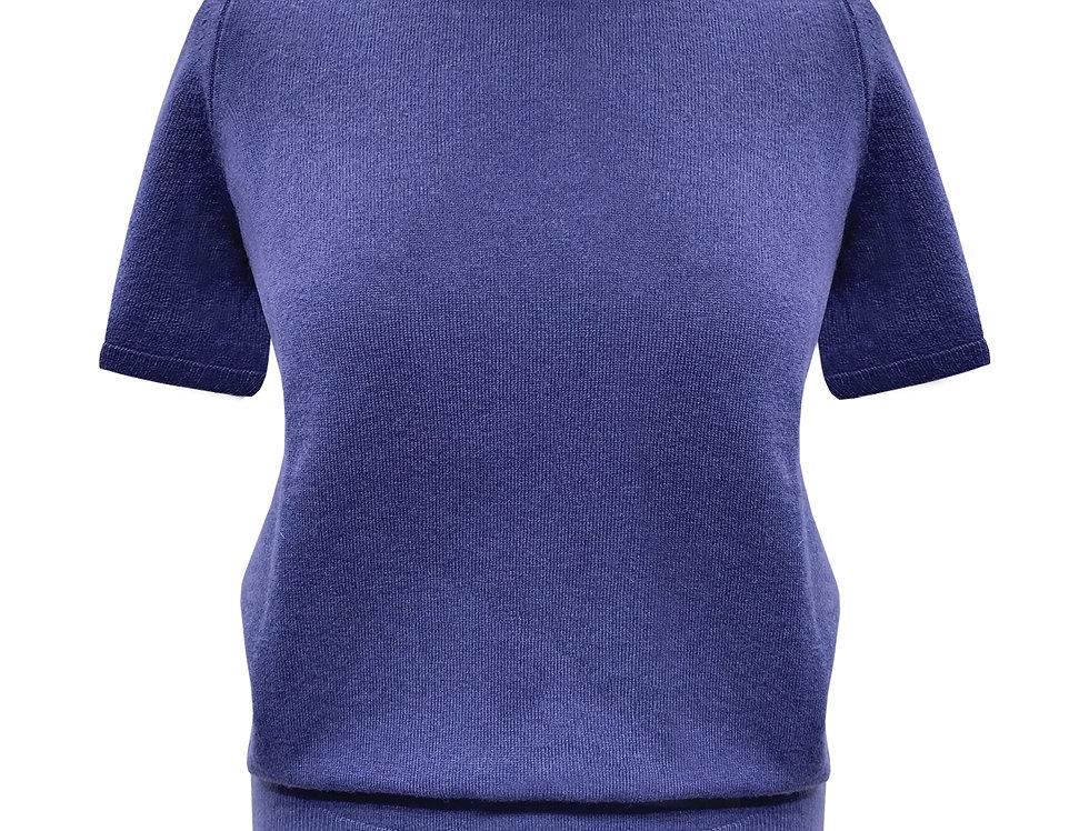 Mėlynas kašmyro ir merino vilnos megztinis trumpomis rankovėmis